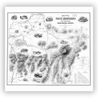 Vintage White Mountains National Forest Map Black and White Shower Curtain