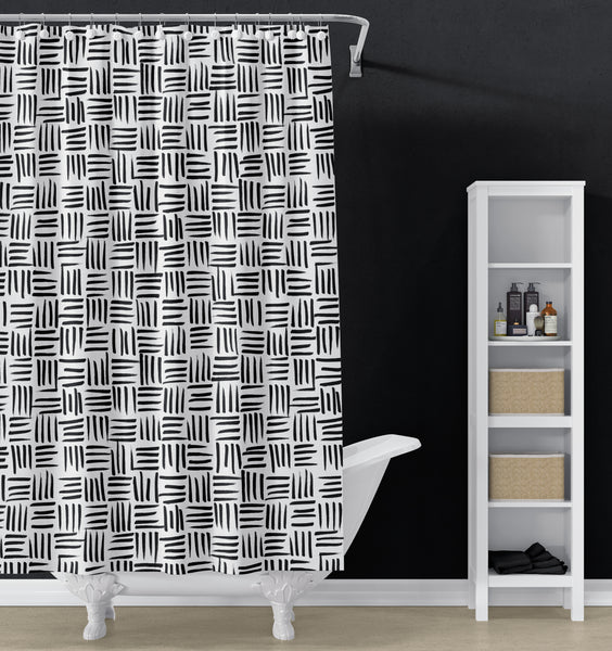 Black and White weave pattern shower curtain
