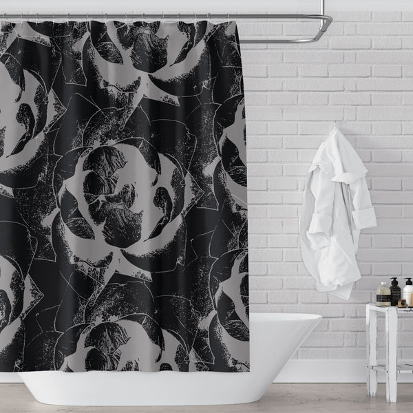 Black and Gray Fabric Shower Curtain - Giant Pop Art Roses Lino Print Style for Bold Decor