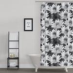 Lotus Flower Black and White Spa Design Shower Curtain