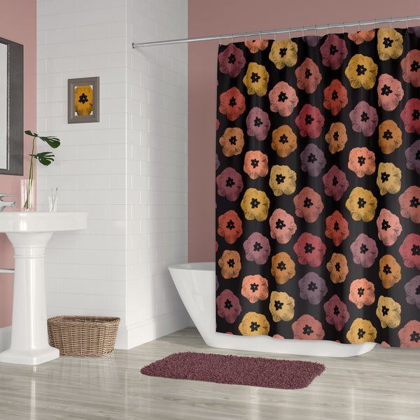 Tulip Print Pop Art Shower Curtain - Earthy Burnt Orange Tones on Black