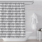 black and white typography stripe shower curtain