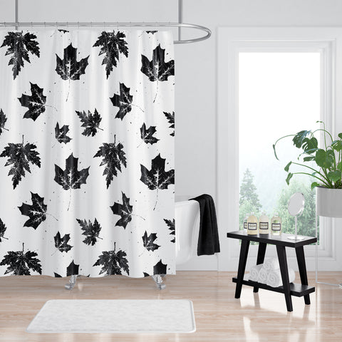 Black and White Shower Curtain - Maple Leaves Nature Print - Metro Shower Curtains