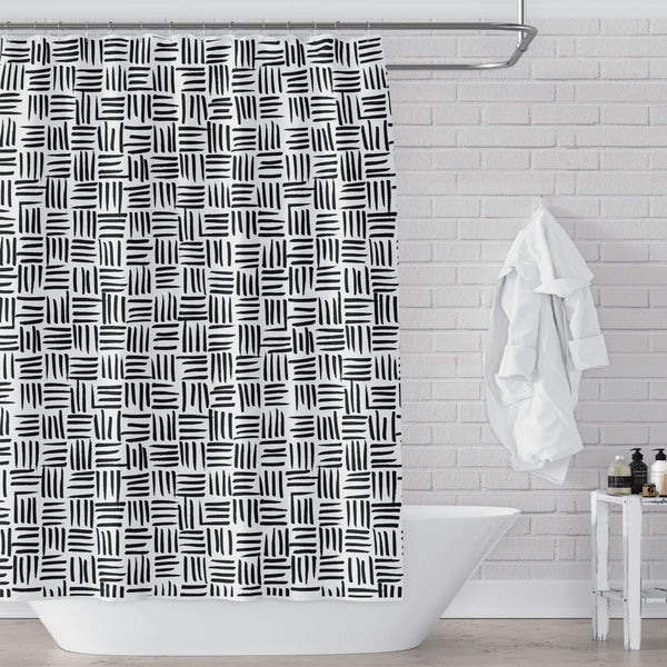 Black and White Basket Weave Pattern Shower Curtain
