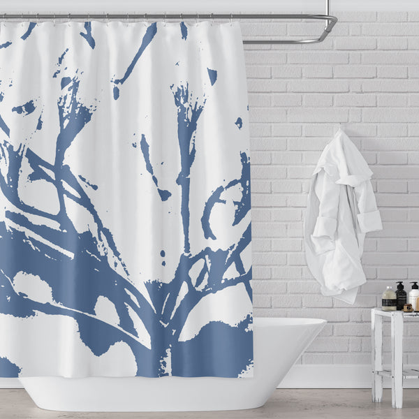 Blue and White Abstract Tree Branch Contemporary Print Shower Curtain - Metro Shower Curtains