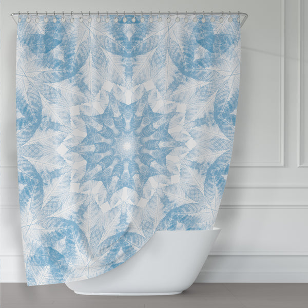 Blue and White Leaf Print Mandala Shower Curtain