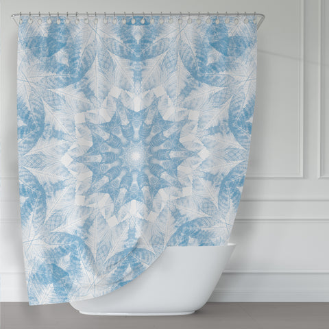 Light Cerulean Blue and White Walnut Leaf Nature Print Mandala Shower Curtain - Metro Shower Curtains