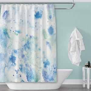 Etherial Blue & Green Watercolor Shower Curtain for Modern Coastal Bathroom - Metro Shower Curtains