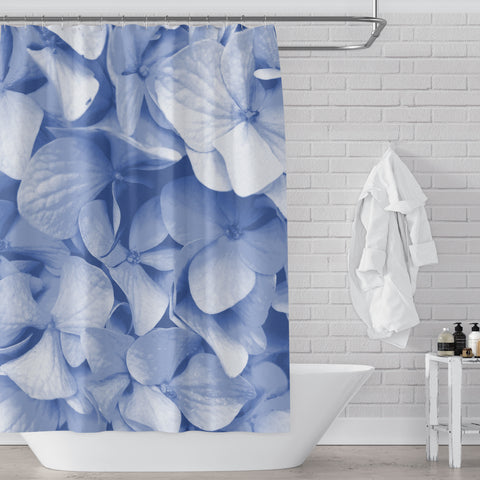 Blue Hydrangeas Large-Scale Floral Art Print Shower Curtain - Metro Shower Curtains