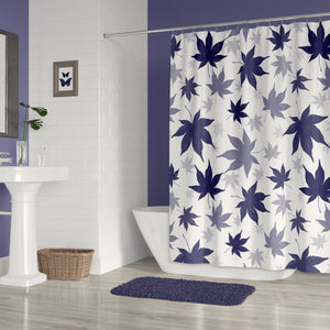 Navy Blue Maple Leaves on White Modern Botanical Print Fabric Shower Ciurtain
