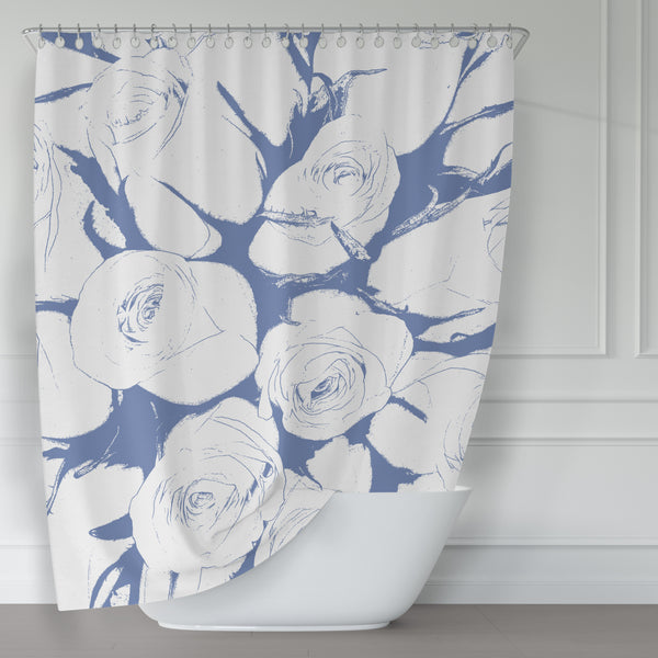 Bouquet of Roses in Blue and White, Large-Scale Art Print Shower Curtain - Metro Shower Curtains