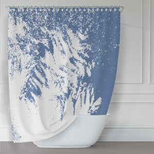 Blue and White Abstract Evergreen Textures Fabric Shower Curtain - Metro Shower Curtains