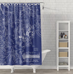 Acadia National Park / Mount Desert Island & Downeast Coast - Vintage Blueprint Style Map Shower Curtain