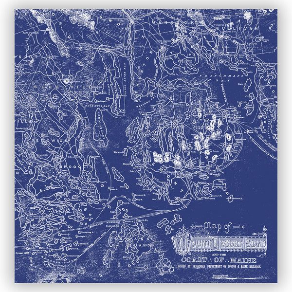 Blue & White Acadia National Park Vintage Maine Map Shower Curtain - Metro Shower Curtains