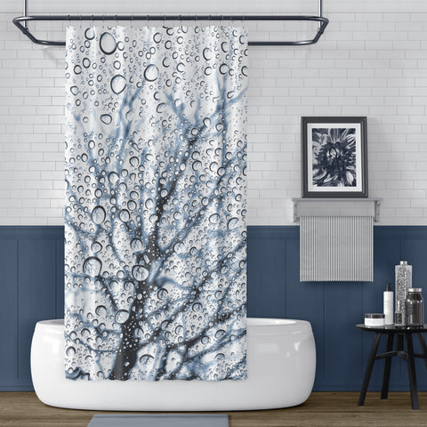 Slate Blue Tree with Raindrops Print Shower Curtain - Metro Shower Curtains