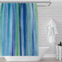 Blue green underwater watercolor bathroom