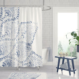 Blue and white modern boho bathroom lace shower curtain