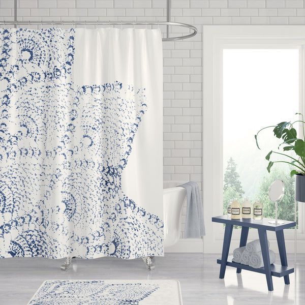 Navy Blue and White Lace Print Shower Curtain - Metro Shower Curtains