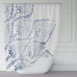 Navy Blue and White Lace Print Shower Curtain
