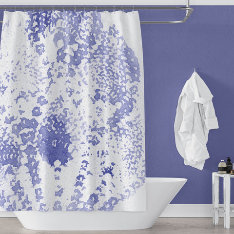 Deep Periwinkle Blue Boho Watercolor Lace Print Shower Curtain - Metro Shower Curtains