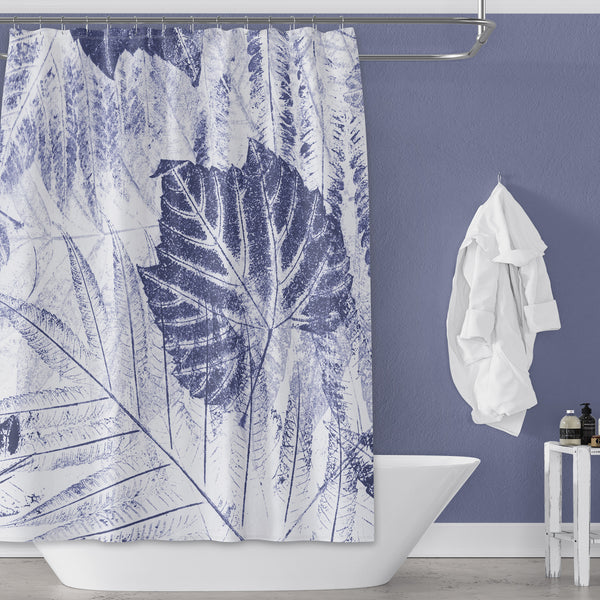 Blue Woodland Jungle Leaves (of New England) Eco Print Shower Curtain
