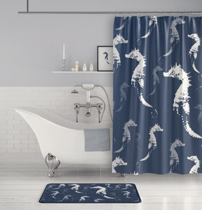 Seahorse Shower Curtain - Slate Blue Gray and White for Beach or Boys Bathroom - Metro Shower Curtains