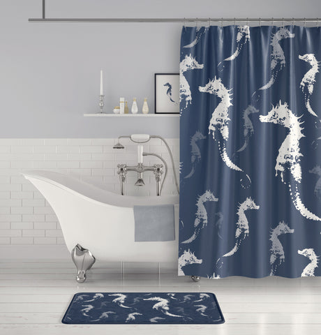 Seahorse Shower Curtain - Slate Blue Gray and White for the Sophisticated Beach Bathroom - Metro Shower Curtains