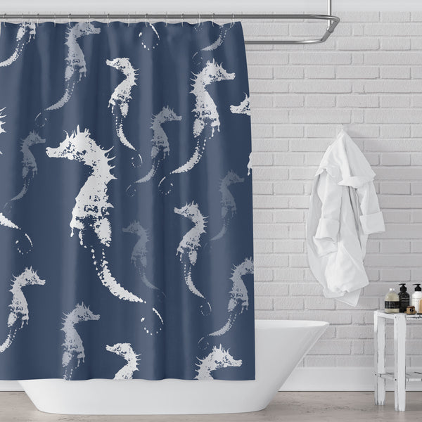 Seahorse Shower Curtain - Slate Blue Gray and White for Beach or Boys Bathroom
