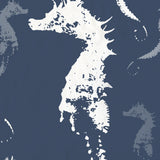 Seahorse Shower Curtain - Slate Blue Gray and White for the Sophisticated Beach Bathroom