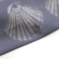 Periwinkle and Beige Shells Shower Curtain for Beach Bathroom