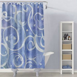 Cornflower Blue Watercolor & Spirals Underwater Art Shower Curtain - Metro Shower Curtains