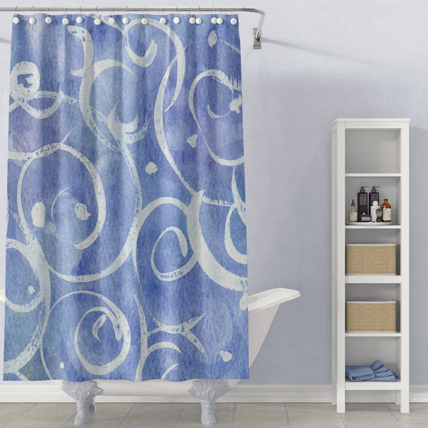 Blue and White Watercolor Art Shower Curtain
