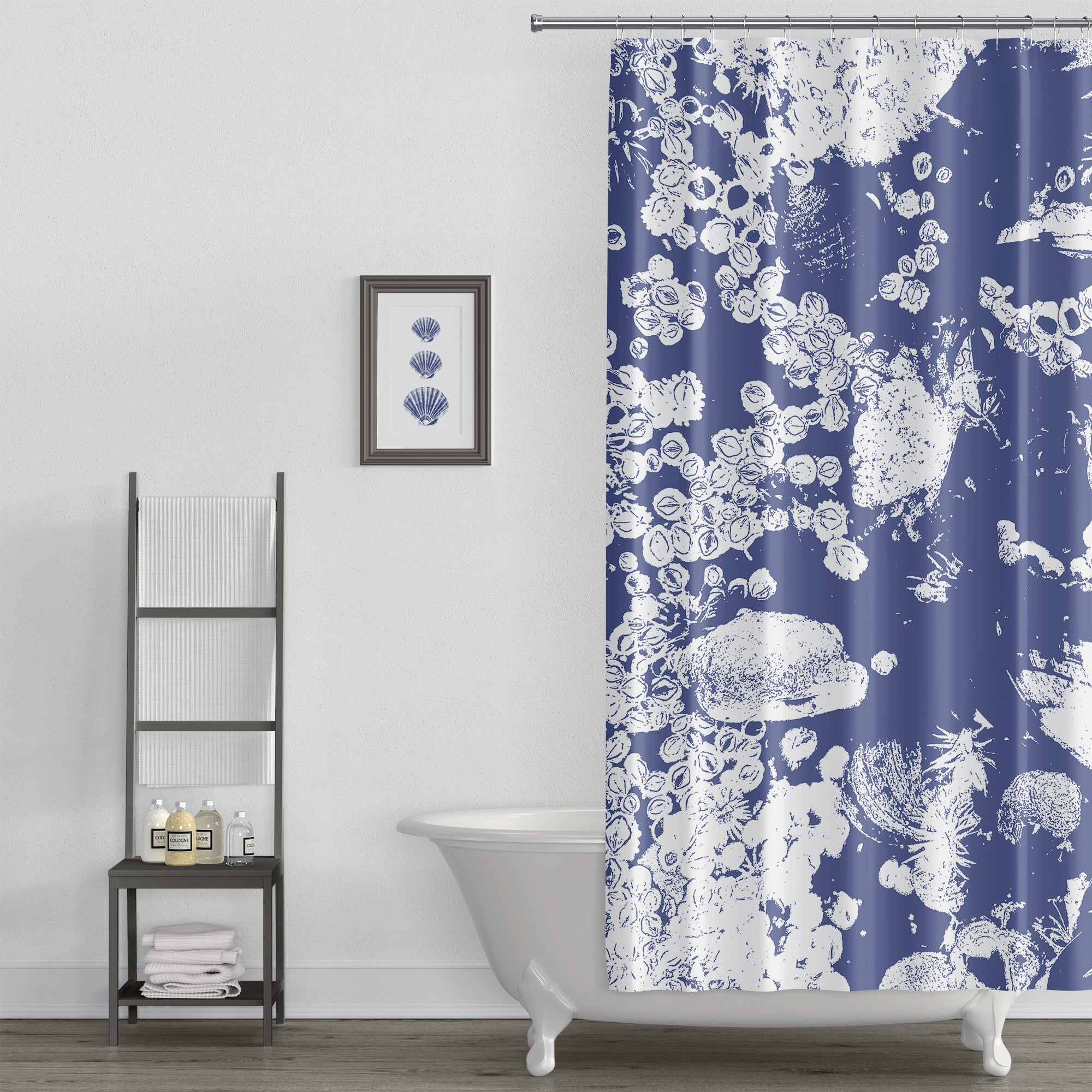 Cobalt Blue and White Northwestern Tidepool Shower Curtain, Large-Scale Blockprint Style Art Print - Metro Shower Curtains
