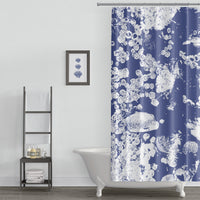 Blue and White Northwestern Tidepool Shower Curtain