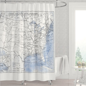 United States Blue, White and Black Vintage Lighthouse Location Map, Circa 1896 - Metro Shower Curtains