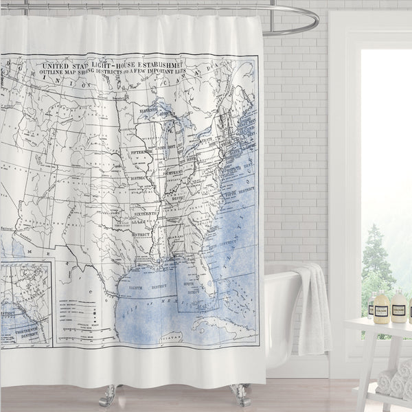 Blue and White USA Lighthouse Map Shower Curtain
