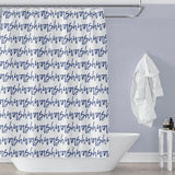 Wash Blue Script Stripes Shower Curtain