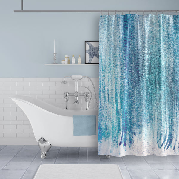 Blue Watercolor Bathroom Shower Curtain