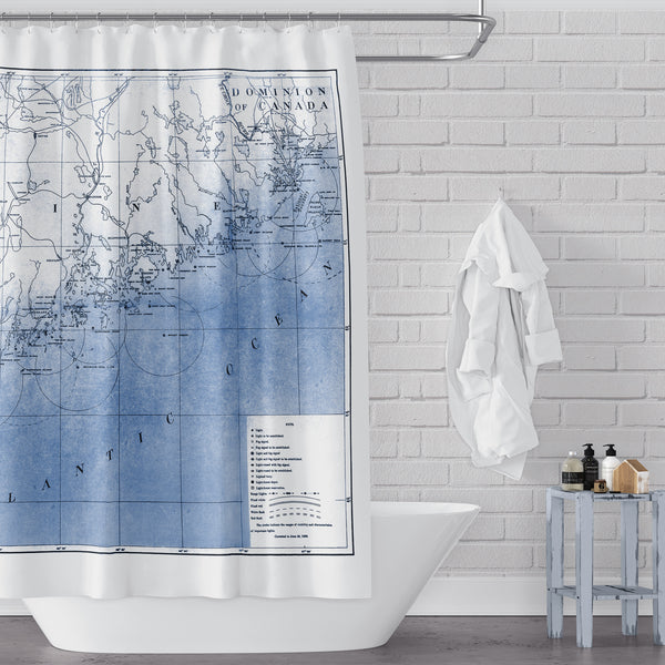 Blue vintage Maine coast & lighthouse map shower curtain
