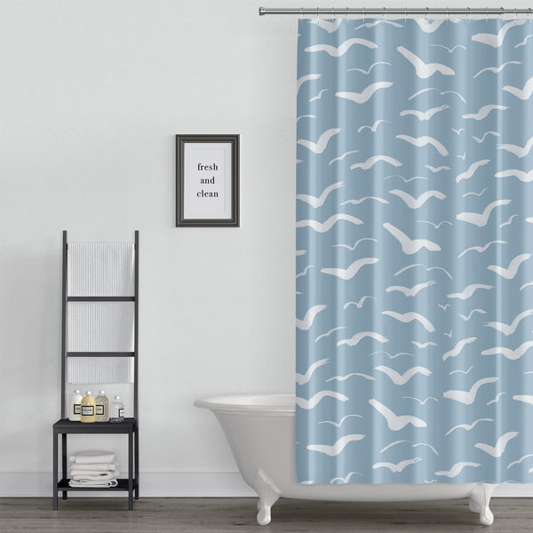 Blue sky with seagulls shower curtain
