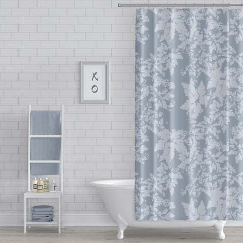 Blue-Gray Leaves Rustic Modern Botanical Print Spa Shower Curtain - Metro Shower Curtains