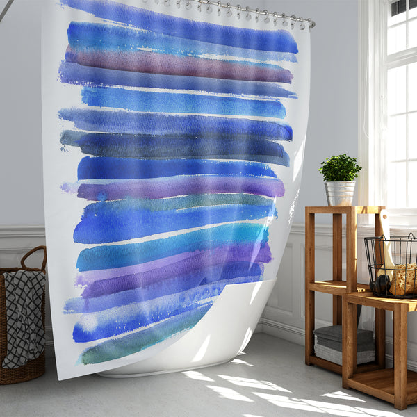 Blue and Purple Watercolor / Horizontal Stripes / Abstract Water Art Shower Curtain