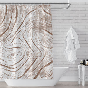 Burly Sienna Brown on White Driftwood Art Print Shower Curtain - Metro Shower Curtains