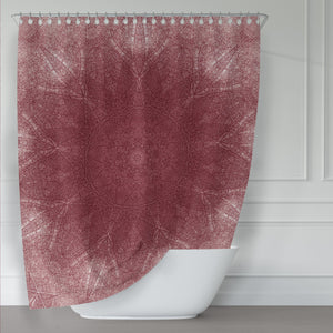 Burgundy Red Wine Mandala Shower Printed Fabric Curtain - Metro Shower Curtains