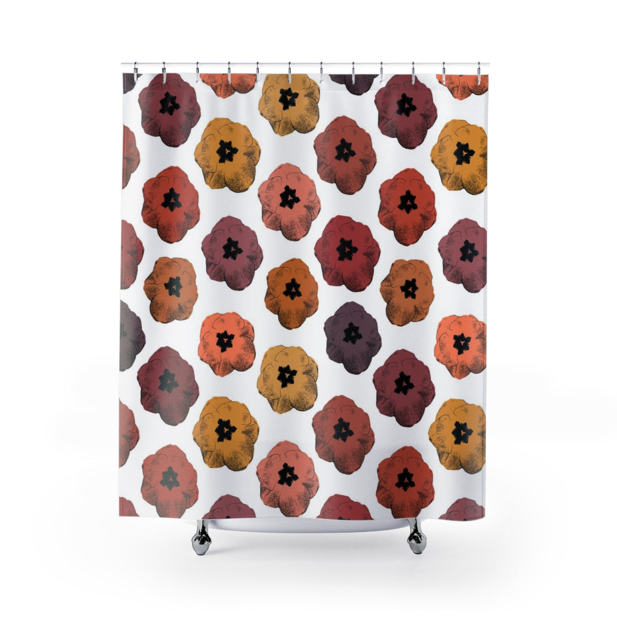 Retro Pop Art Tulip Print Shower Curtain in Reds, Oranges, Pinks, Yellows and Purples - Metro Shower Curtains