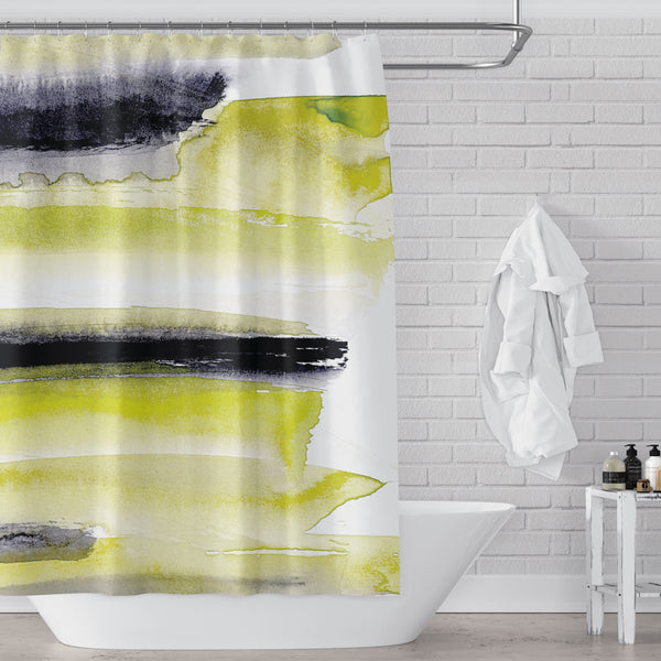 Chartreuse, Black and White Watercolor Abstract Stripes Bold & Modern Shower Curtain