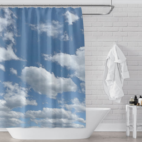 Clouds on a Summer Day Blue and White Fabric Shower Curtain - Metro Shower Curtains