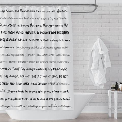 Confucius Quotes for the Bathroom Typography Stripes Shower Curtain - Metro Shower Curtains
