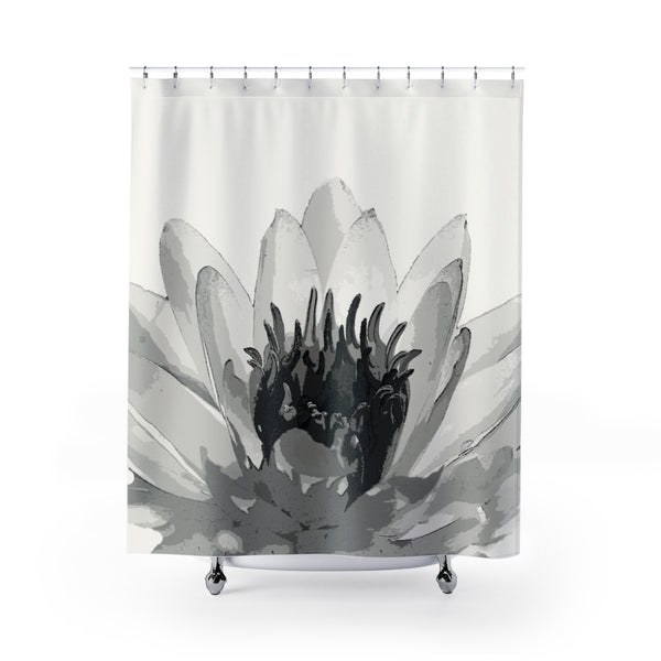 Water Lily Spa Shower Curtain Black and White