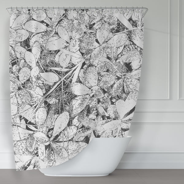 Woodland Carpet / Black and White Leaves, Large Scale  Contemporary Photo Art Shower Curtain